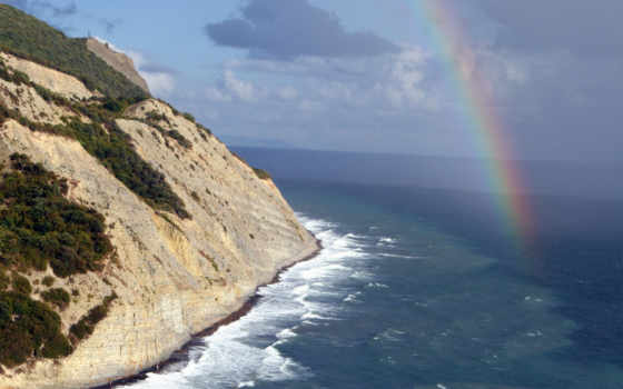 rainbow, природа, see, горах, photos, лес, обрыв, free, desktop, волны, море,