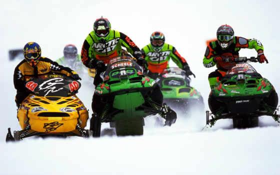 гонки, снегоход