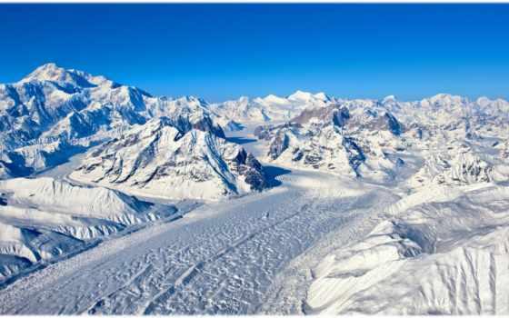 горы, снег, снежные