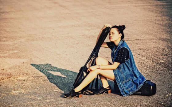 девушка, гитара, музыка Фон № 99973 разрешение 1920x1200