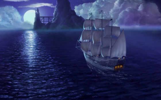 море, корабль, паруса, небо, луна, корабли,