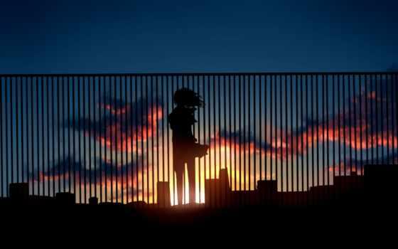anime, девушка, art, город, силуэт, kibunya, unknown, pinterest,
