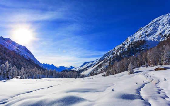 winter, природа, снег, oblaka, небо, landscape, гора, скалы, house,