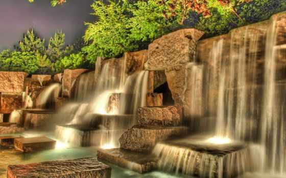 водопад, водопады, страница, камень, искусственный, possible, декоративный, hdr, падает,