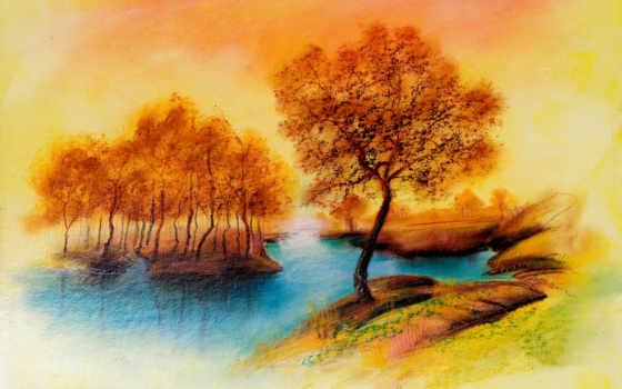 рисунок, осень, trees, landscape, река, peace,