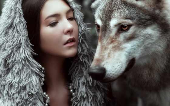 девушка, волк, je, глаза,