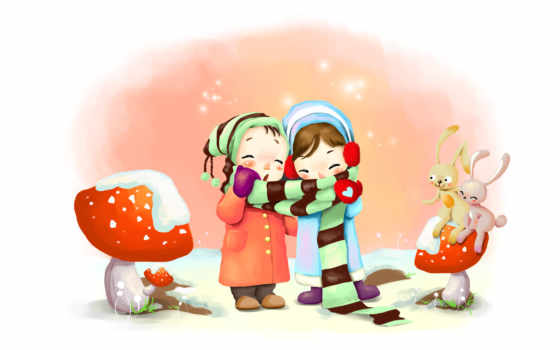 нарисованные, дети, девочки, зима, шарф, шапки, грибы, снег, зайцы, варежки