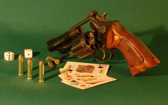 revolver, карты, кости, патроны, oruzhie,
