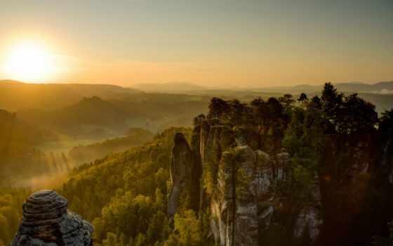 швейцария, national, park, saxon, германия, природа, bastei, castle, мост,