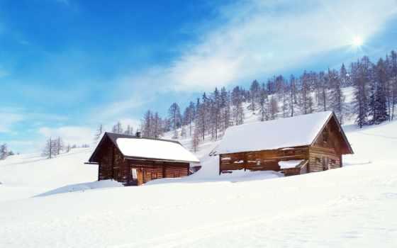 nieve, invierno, paisaje, casas, fondo, pantalla, rurales, снег,