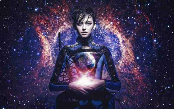 голубые, universe, девушка, свет, land, dream, звезды, космос, galaxy, cvety, клипы,