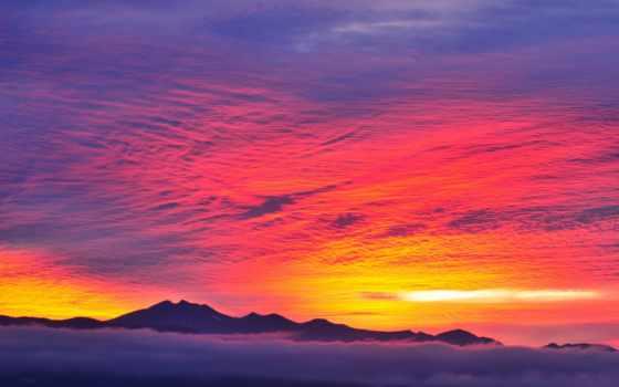 закат, iphone, небо, red, mountains, туман