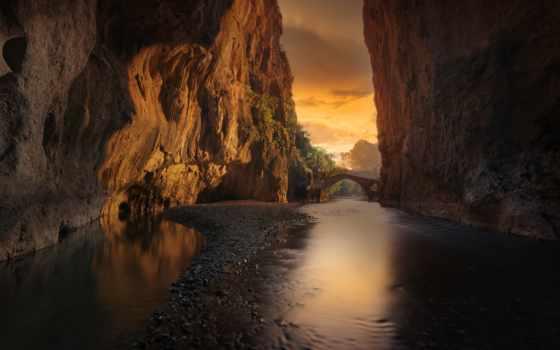 природа, качество, хороший, rock, когда, губка, мост, река, оформление, mode