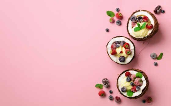 кокосовый, еда, мороженое, лед, попа, art, розовый, ягода, summer, плоский, top