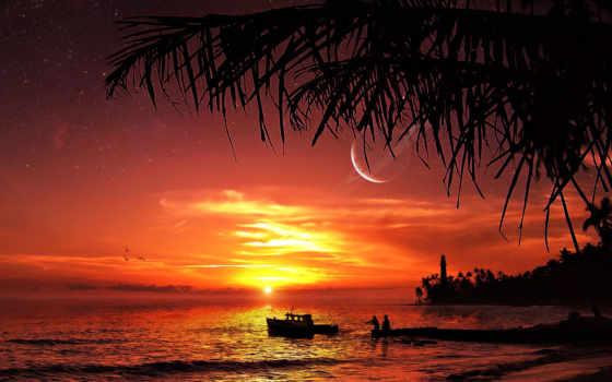 закат, берегу, океана