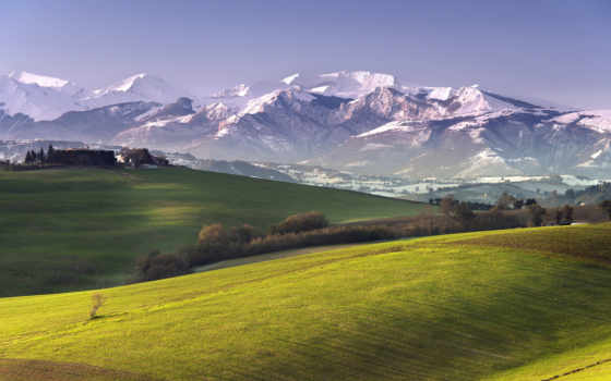 поле, landscape, горы, margin, трава, июль, зелёная, небо, пейзажи -, trees, цветы,