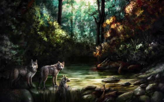 fantasy, лес, дракон, пейзажи -, шакалы, девушка, фэнтези, water, водопад, ожидание, камни,