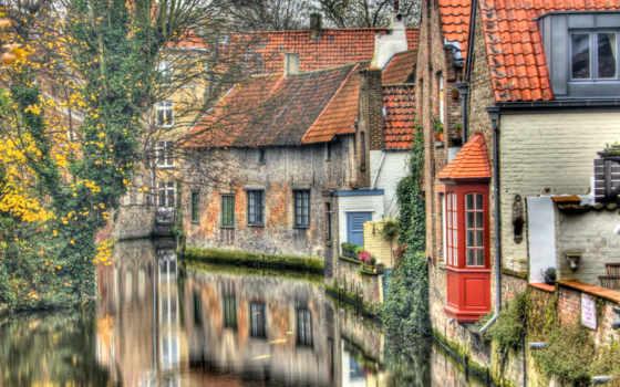 бельгия, брюгге, город, houses, desktop, canal, water, pinterest,
