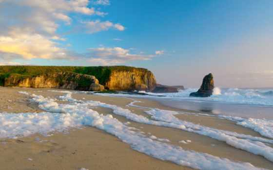 море, скалы, берег, ocean, rock, песок, пенка, water, пляжи, пейзажи -, побережье,