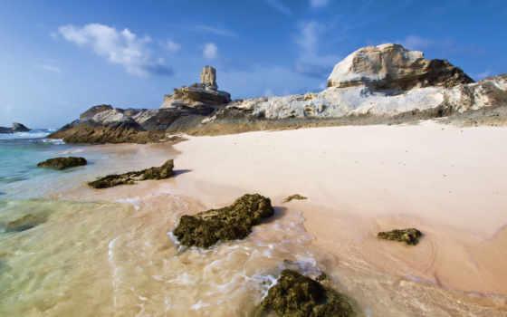 берег, море, камни, скалы, песок, высоком, небо, качестве, закат,