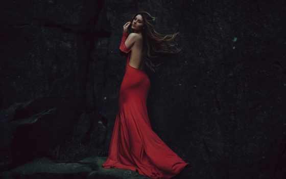 pelo, android, ситуации, libre, rojo, mujer, flamenca, vestido, aire, аль,