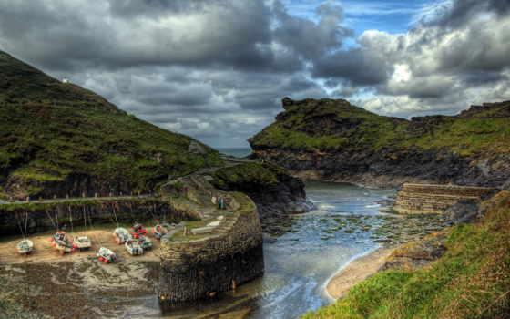 великобритания, природа, лодки, побережье,