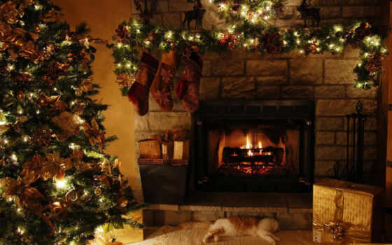 год, новый, елка, christmas, камин, праздник, украшения, дом, праздники, подарки, скaчaть, носки, ipad,