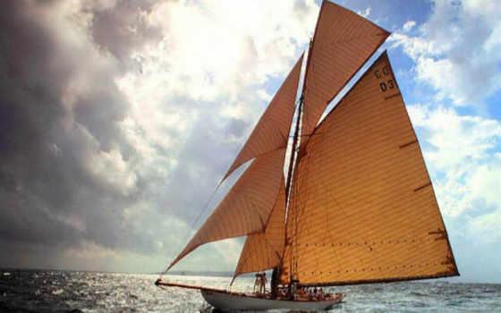 море, яхта, паруса, небо,