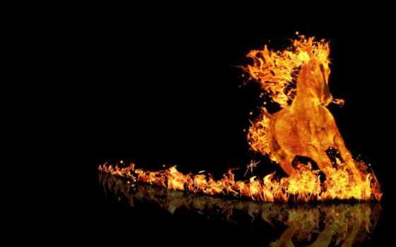 лошадь, огненная, лошади
