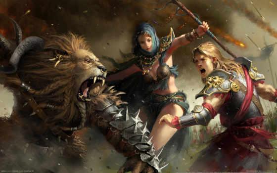 мужчина, lion, рыцарь