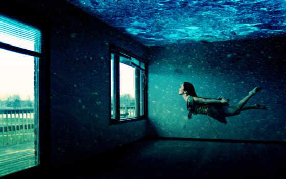 девушка, окна, водой