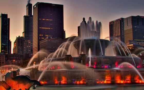 fountain, город, каскад, песочница, подсветка, города, дома, красивый, usa, реклама, chicago,