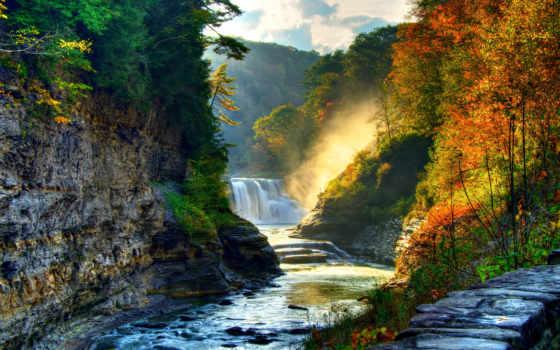 осень, водопад, лес, природа, waterfalls, река, landscape, изображение,