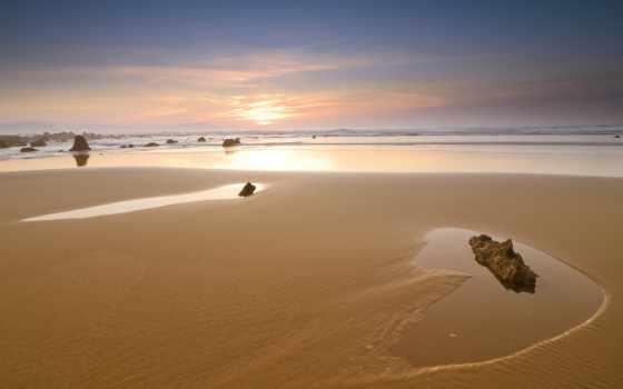 песок, море, берег, камни, небо, закат, природа,