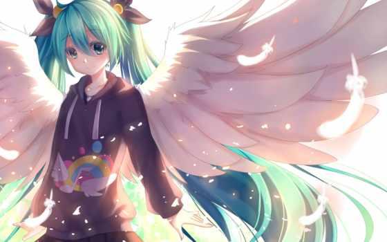 anime, девушка, вокалоид, хацунэ, miku, kaito, волос,