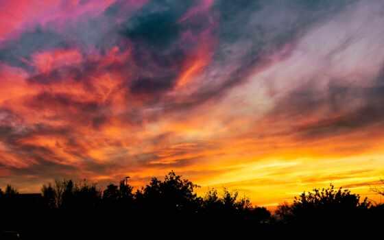 закат, cielo, природа, rbole, pantalla, mobile, smartphone, fondo, небо, atardec