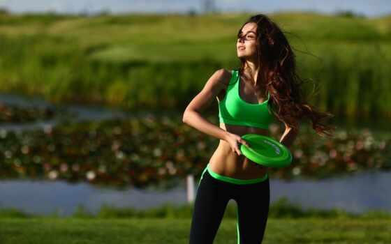 девушка, дерево, freestyle, gold, fly, добавить, трава, похудение, mulheres, disc, спорт