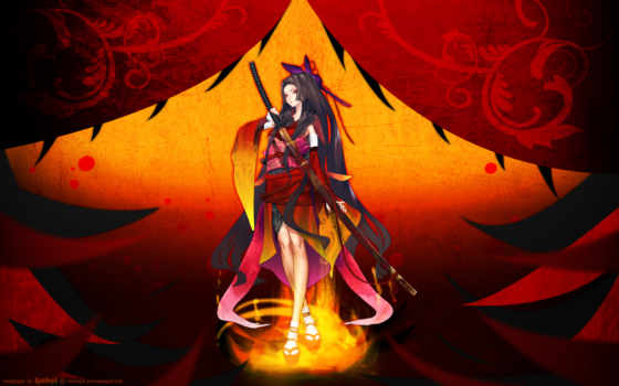 аниме, девушка, меч