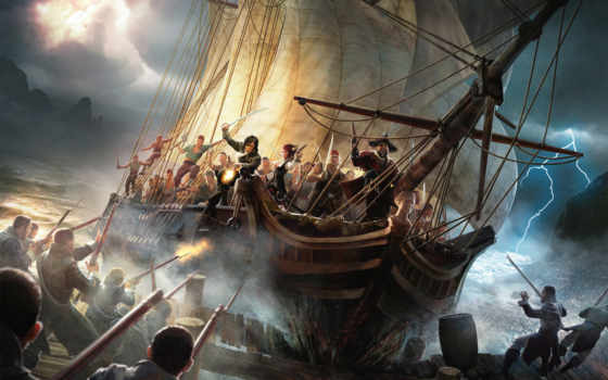 пираты, корабль, пирс, море, гроза, пиратов, парусник, risen,