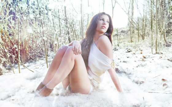 девушка, зима, снег