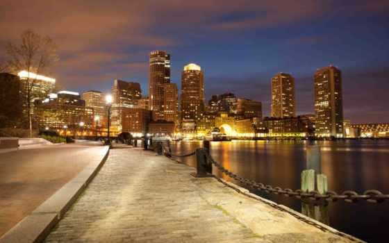 город, boston, массачусетс, usa, города,
