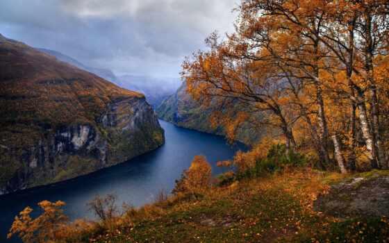 осень, fjord, природа, norwegian, красиво, норвегия, осени,