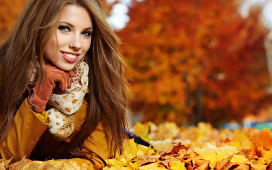 осень, девушка, шатенка, улыбка, красивая, женщина, шубка,