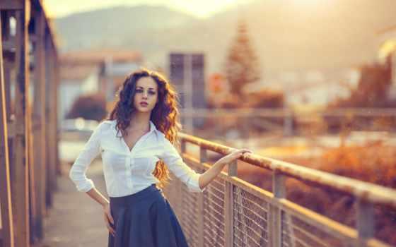 women, волосы, curly, outdoors, модель, girls, dyed, забор,