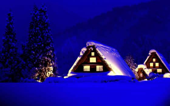 winter, снег, горы, домики, свет, trees, дома, new, год, eli,