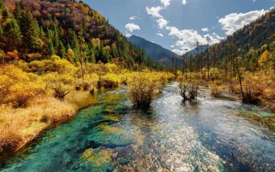 montanha, paisagem, imagens, rio, jiuzhaigou, montanhas, outono, stock, china, vale,
