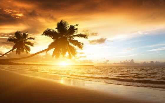 море, пляж, хороший, narrow, закат, lugare, turístico, república, доминикана, sun