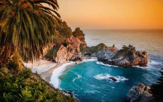 park, burns, state, pfeiff, julia, california, kalifornii, гора, ocean, hill