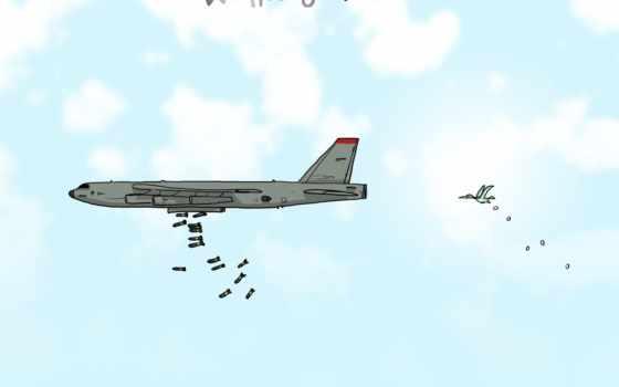 wallpaper, hd, desktop, скачать, самолёт, бомбардировщик, bird, юмор, карикатура, wulffmorgenthaler, бомбежка, bomberfirst,