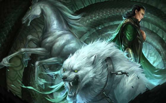 loki, sandara, конь, арт, волк, ошейник, змей, цепь, fantasy, фэнтези, парень, картинка,